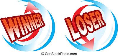 ícones, -, vencedor, e, perdedor