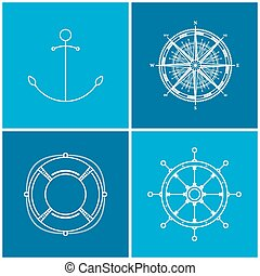 ícones, vetorial, jogo, marítimo