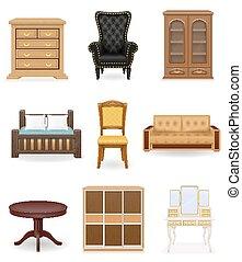 ícones, vetorial, jogo, mobília