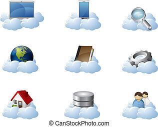 ícones, vetorial, nuvem, computando