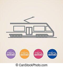 ícones, vetorial, trem