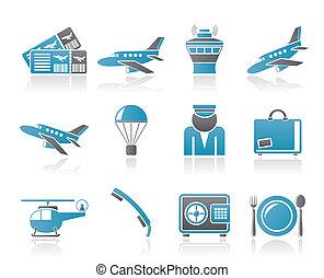 ícones, viagem, aeroporto