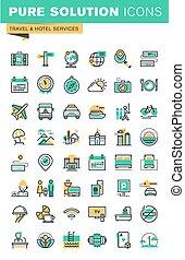 ícones, viagem, jogo, linha, magra
