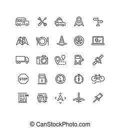 ícones, viagem, vetorial, tráfego, localização, linha, estrada