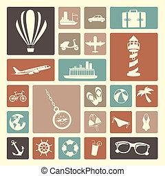ícones, viagens