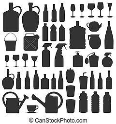 ícones, vidro, silhuetas, vetorial, bebida, garrafa