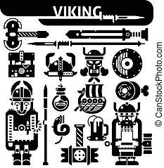 ícones, viking, pretas, jogo, branca