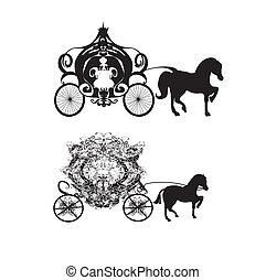 ícones, vindima, -, dois, carruagem, vetorial