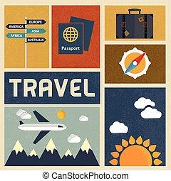 ícones, vindima, viagem, vetorial, desenho, retro, set.