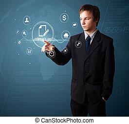 ícones, virtual, apertando, homem negócios, messaging, tipo