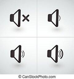 ícones, volume, orador, música, áudio, ou