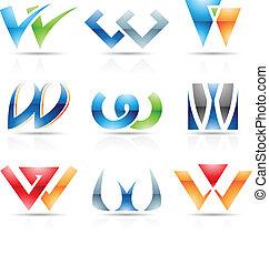 ícones, w, letra, lustroso