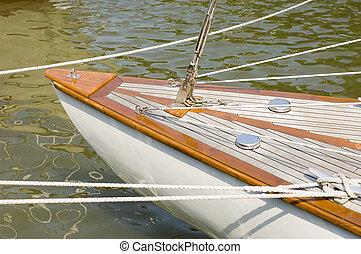 íj, közül, egy, klasszikus, vitorlázás hajó
