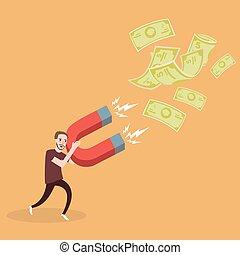 ímã, ganhar, poder, renda, investimento, homem, dinheiro, atrair, tentar, passivo, lucro
