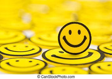 ímã, smiley, amarela