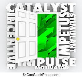 ímpetu, puerta, incentivo, motivación, ilustración, catalyst...