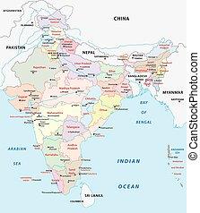 índia, administrativo, mapa