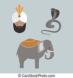 índia, animais, budda, icons.