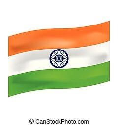 índia, bandeira, vetorial, ilustração