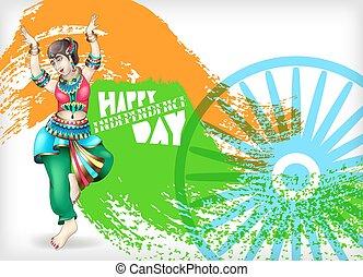 índia, cartão cumprimento, dia, independência, feliz