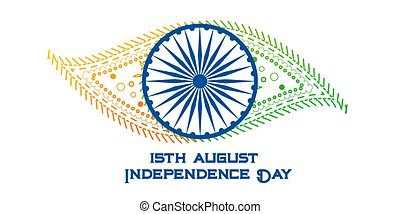 índia, criativo, bandeira, dia, independência, feliz