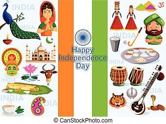 índia, dia, independência, feliz