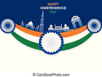 índia, ilustração, vetorial, dia, independência, feliz