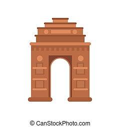 índia, portão, em, delhi, famosos, monumento, de, índia, vetorial, ilustração
