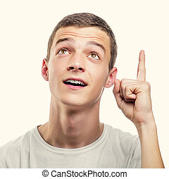 índice, actuación, joven, finger., hombre, hacia arriba