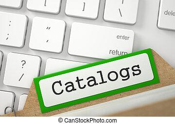 índice, carpeta, catalogs., inscripción