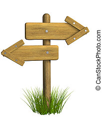 índice, de madera, -, columna, retro, flecha, 3d
