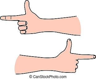 índice, dirigindo, mão, dedo, maneira, expedir, horizontais