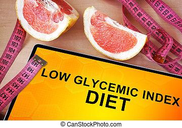 índice, glycemic, dieta, tableta, bajo