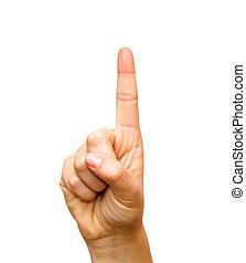 índice, hacia arriba, dedo que señala, mano