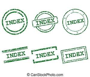 índice, sellos