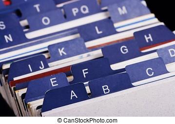 índice, tenedor, tarjeta comercial, escritorio
