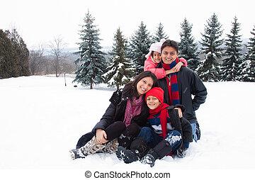índio leste, neve, família, tocando