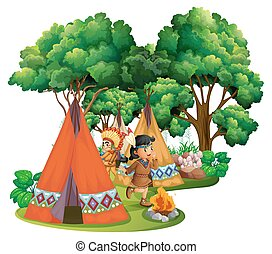 índios americanos, campsite