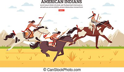 índios americanos, caricatura, fundo