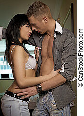 íntimo, par jovem, durante, foreplay