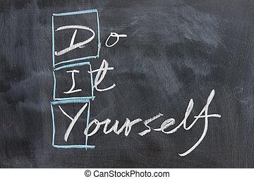 írás, -, chalkboard, diy
