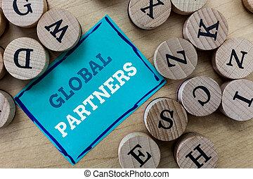 írás, jegyzet, kiállítás, globális, partners., ügy, fénykép, showcasing, két, vagy, több, cégjegyez, alapján, különböző, országok, munka, mint, egy, befog