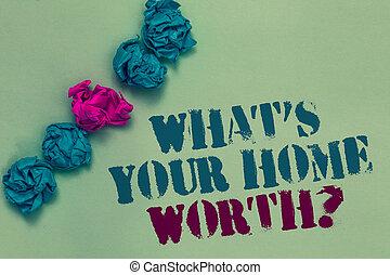 írás, jegyzet, kiállítás, mi, dél, van, -e, otthon, érdemes, question., ügy, fénykép, showcasing, becsül, közül, egy, épület, ingatlan, költség, ár, arány, húzott, blue piros, szavak, böjti réce, befest papír, daganat, középső, rózsaszínű, képben látható, kék, floor.