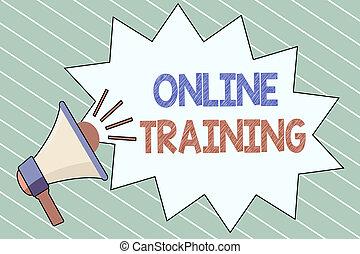 írás, jegyzet, kiállítás, online, training., ügy, fénykép, showcasing, fog, a, oktatás, program, alapján, a, elektronikus, erőforrások
