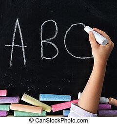 írás, kéz, gyermek