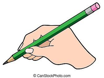 írás, kéz, noha, ceruza