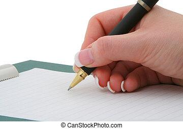 írás, kéz