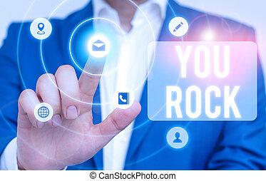 írás, rock., szállít, ügy, szleng, vagy, szöveg, buzdítás, dicsér, ön, frázis, fogalom, szó, awesome.