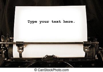 író, öreg, ív, tiszta, gépel
