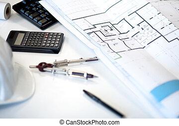 íróasztal, közül, egy, építészmérnök
